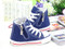 Blue Converse style, canvas shoe different angles with zipper.
