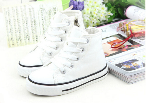 White Converse style, canvas shoe.