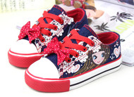 Blue & Red canvas shoe.