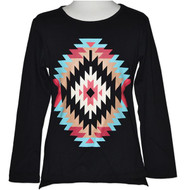 Girls Long Sleeve Top, Black with Aztec Design.