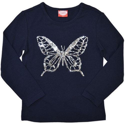 Navy Blue Girls Long Sleeve Shirt with a sequin Butterfly.