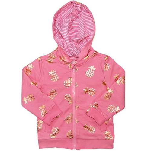 Girls Pink Jumper with Gold Pineapples printed.