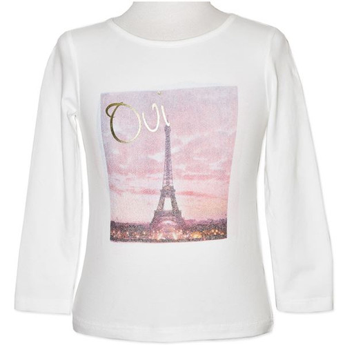 White long sleeve shirt with an Eiffel Tower picture.