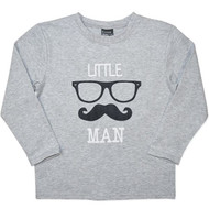"Boys Grey Long Sleeve Shirt with ""Little Man"""