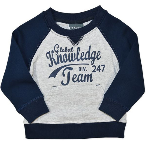 Grey & Blue Toddler & Baby Long Sleeve Cotton Sweat Top.