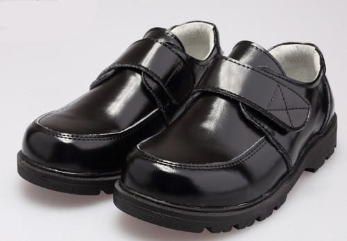Boys black leather school shoe.