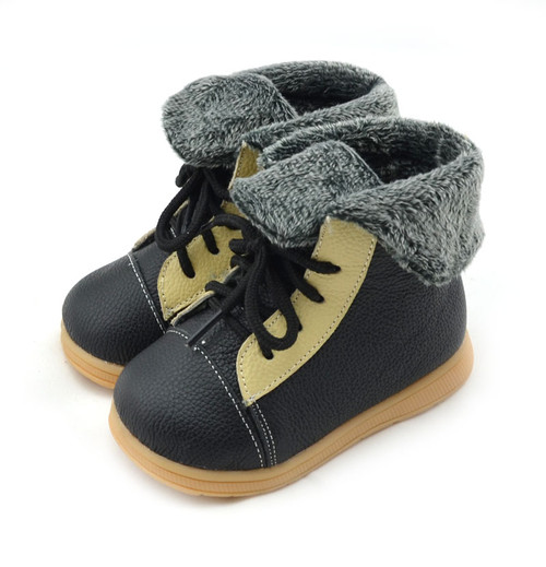 Boys Black Leather Boots with Fur Lining left.