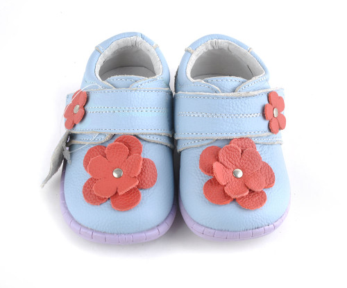 Baby Girls Light Blue Hard Sole Mary Jane Leather Shoes.