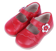 Toddler Girls Red Leather Mary Jane Shoe.