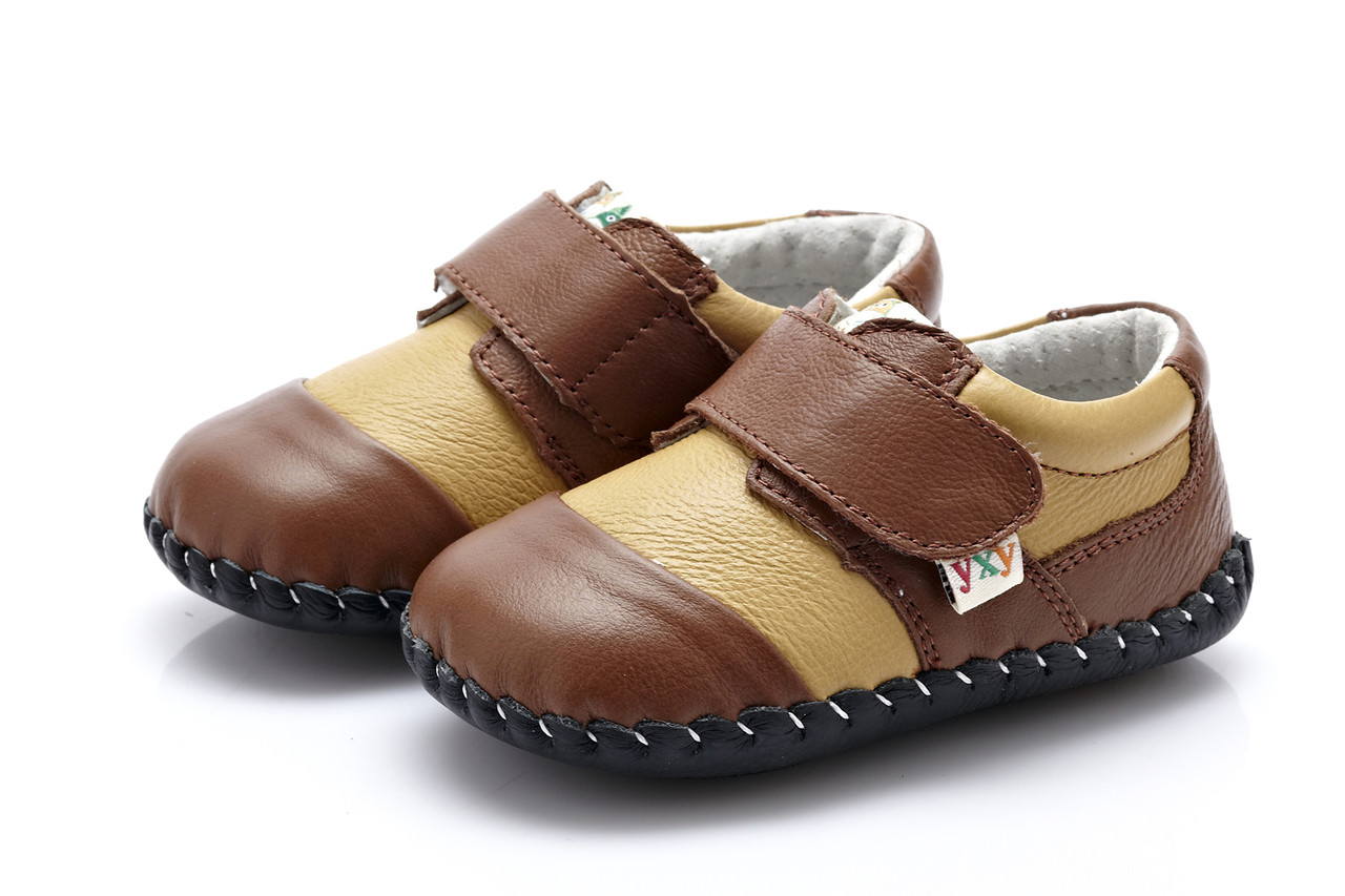 3d65dd36ef3 Baby Boys Soft Soled Dark   Light Brown Leather Shoes - Ages 0 - 24 ...