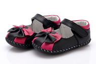 Baby Girl  Black & Pink Soft Soled Shoe.
