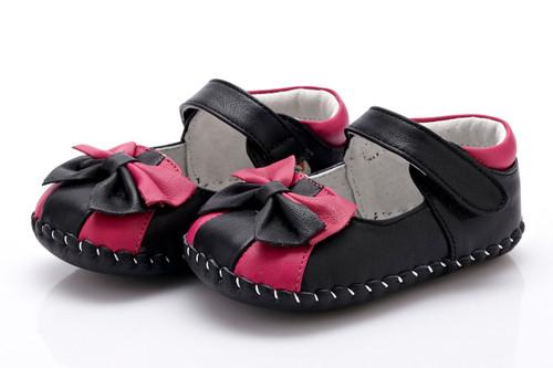 Baby Girl  Black & Pink Soft Soled Shoe.