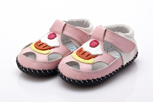 Baby Girl  Pink & White Soft Soled Shoe with cupcake.