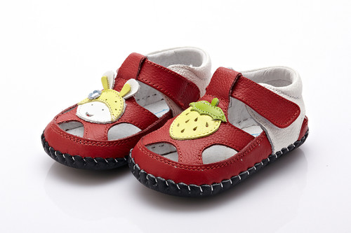Baby Girl  Red & White Soft Soled Shoe with strawberry.