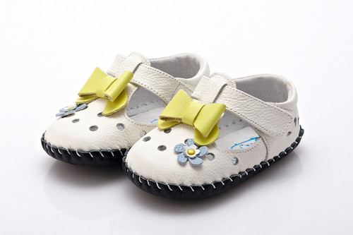 Baby Girl White Soft Soled Shoe with lime green bow.