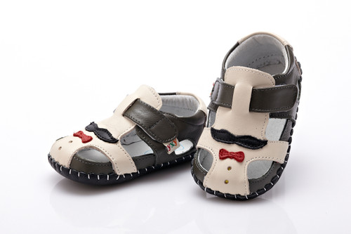 Baby Boy Dark Grey & Cream Soft Soled Shoe with moustache on angles.