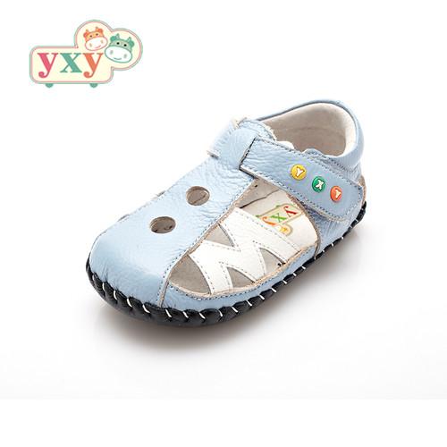 Baby Boys Sky Blue & White Soft Soled Sandal.