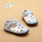 Baby Boys Sky Blue & White Soft Soled Sandal to right.
