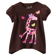 Girls Pink Giraffe T Shirt