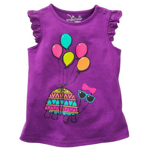 Girls Purple Balloon T Shirt front.