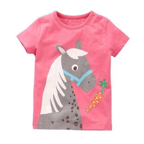Girls Pink Horse T Shirt