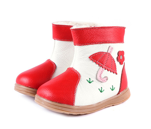 Red & White Fur Ugg Boots