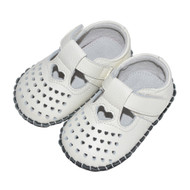 White Soft Sole Shoe with Heart Cutouts