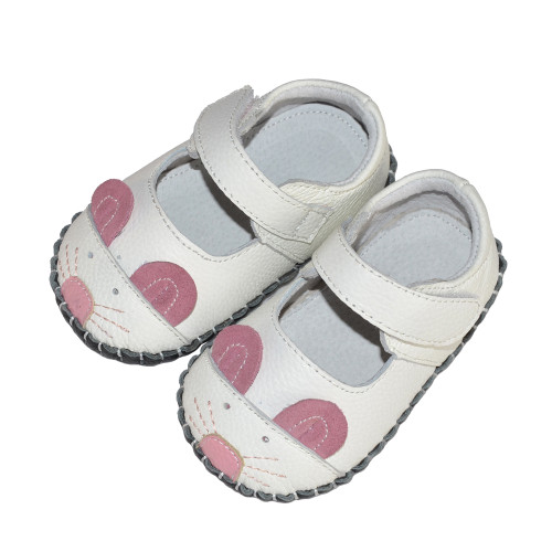 White Mouse Baby Soft Sole Shoes