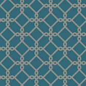 GE3628- Ashford House Geometrics Threaded Links Aegean Blue Wallpaper