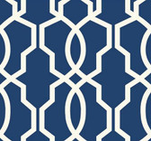 GE3668-Ashford Geometrics Hourglass Trellis Wallpaper in Blue and White