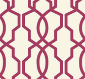 GE3669-Ashford Geometrics Hourglass Trellis Wallpaper in Rosewood and White