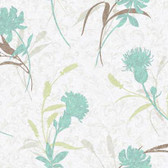 WB5401 - Ashford House Botanical Fantasy Open Floral Wallpaper in Teal and Grey