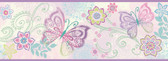 Fantasia Boho Butterflies Scroll Purple Border Wallpaper BBC46452B