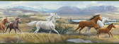 Sally Blue Wild Horses Portrait Border Azure Wallpaper BBC48481B