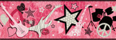 Blondie Rock Star Toss Pink Border Wallpaper BBC94003B