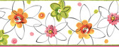 Butterbean Crazy Daisies Toss Pink-Green Border Wallpaper BBC94031B