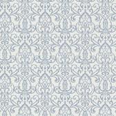 Bradford Abelle Damask Swirl Stone Blue Wallpaper 492-2005