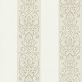 Bradford Arbella Damask Swirl Stripe Linen Wallpaper 492-2101