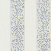 Bradford Arbella Damask Swirl Stripe Spruce-White Wallpaper 492-2105
