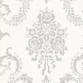 Buckingham Chambers Floral Damask Alabaster Wallpaper 495-69002
