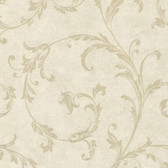 Buckingham Milton Shimmer Scroll Bone Wallpaper 495-69066