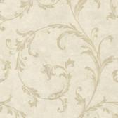 Buckingham Milton Shimmer Scroll Bone Wallpaper 495-69066