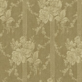 Carleton Floral Bouquet Stripe Gold Wallpaper 292-80105