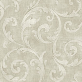 Carleton Large Scroll Ivory Wallpaper 292-81510