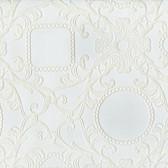 Contemporary Flock Framed Cameo Damask White Wallpaper 302040