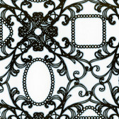 Contemporary Flock Framed Cameo Damask Brown-White Wallpaper 302041