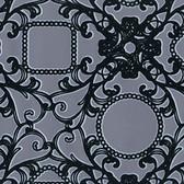 Contemporary Flock Framed Cameo Damask Black-Pewter Wallpaper 302042
