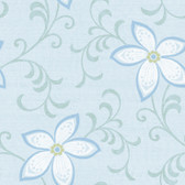 Contemporary Christel Khloe Girly Floral Scroll Wallpaper in Blue and White CHR11635