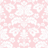 Contemporary Christel Camila Modern Damask Wallpaper in Pink and White CHR11652