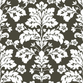Contemporary Christel Camila Modern Damask Wallpaper in Black and White CHR11655